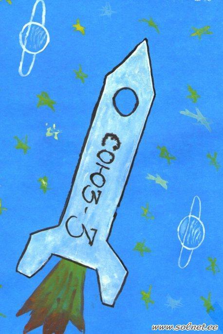 Вот такая зелС'ная ракета получилась из солС'ного теста.  В него я.