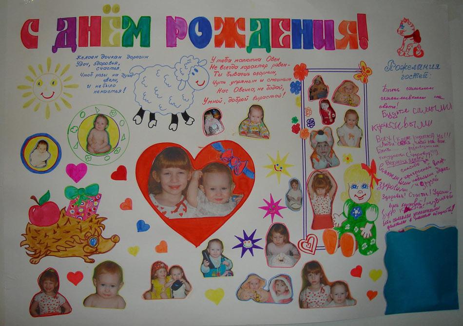 идеи для оформления плаката с днем рождения